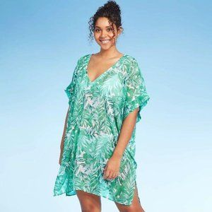 WOMEN'S V-NECK COVER UP -COVER 2 COVER GREEN L NEW